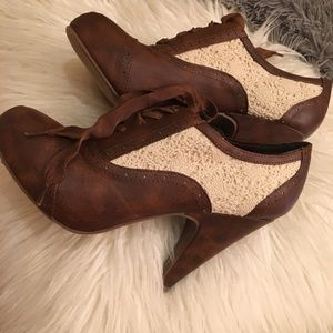 Brown Heels with White Lace